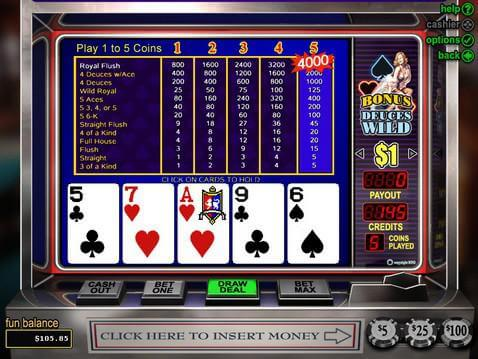Bonus Deuces Wild Casino Game screenshot 2