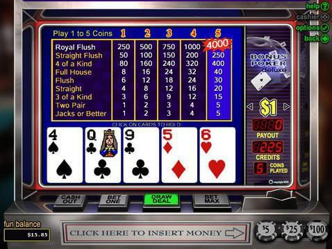 Bonus Poker Deluxe Casino Game screenshot 2