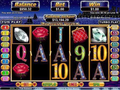 play free diamond dozen slots