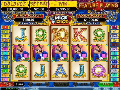 free casino games online slots with bonus dice and roll