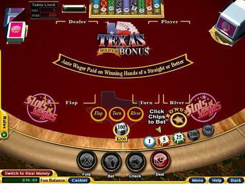 Texas Hold'em Bonus Poker Casino Game screenshot 2