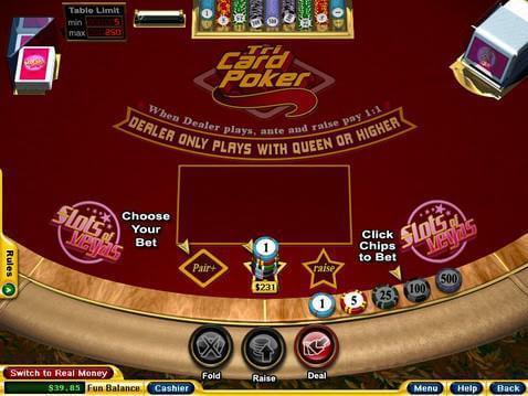 3 card poker casino odds